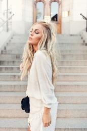 dress,tumblr,white dress,wrap dress,asymmetrical,asymmetrical dress,long sleeves,long sleeve dress,bag,black bag,long hair,blonde hair,ruffle