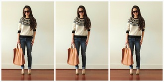 sensible stylista blogger jeans sweater bag shoes sunglasses