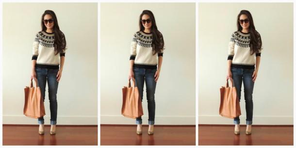 sensible stylista blogger jeans sweater bag shoes sunglasses