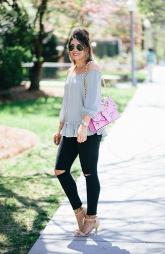 life & messy hair blogger top bag jeans shoes jewels sunglasses off the shoulder top pink bag sandals skinny jeans spring outfits