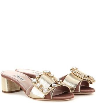 embellished sandals leather sandals leather velvet gold shoes