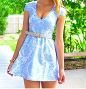 dress,pastel blue dress,baroque,blue,white,short,floral,summer,paisley,belt,china,print,blue printed dress,summer dress