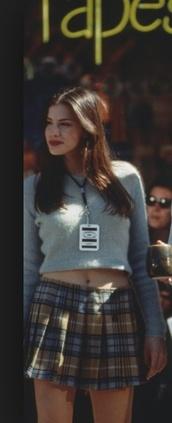 skirt,camron mason,plad,liv tyler,plaidskirt,blouse,empire records,90s style,jumper,sweater,plaid skirt,blue