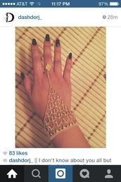jewels,hand jewelry,jewelry,gold,shiny,sparkle,nails,black nails,bracelets