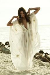 dress,bohemian dress,caftan,beach caftan,white dress,maxi dress,beach dress,see through dress