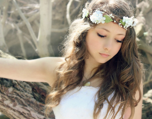 headband flowers floral headband jewels white white flower crown white flowers crown flower crown