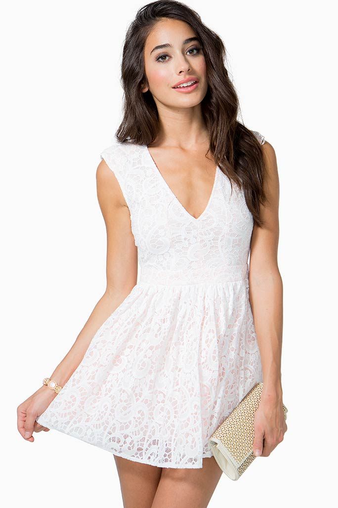 A'GACI Paisley Lace Flare Dress - DRESSES