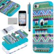 Pandamimi ULAK 3 in 1 Hybrid Green Hard Aztec Tribal Pattern and Blue Silicon Case Cover For Apple iPod Touch 5th Generation   Screen Protector   Blue Stylus:Amazon:Cell Phones & Accessories