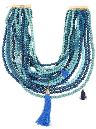 beaded necklace blue jewels