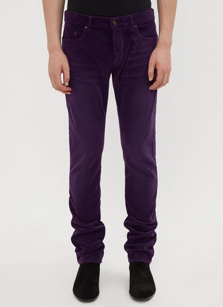 Saint Laurent Slim-Fit Corduroy Pants in Purple size 30
