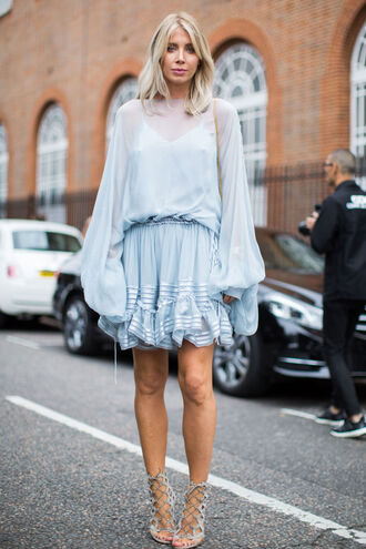 dress fashion week street style fashion week 2016 fashion week mini dress short dress puffed sleeves blue dress baby blue light blue long sleeves long sleeve dress sandals sandal heels high heel sandals grey sandals lace up sandals streetstyle puff sleeve dress