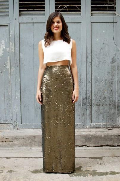 skirt stylish fashion sequin skirt blogger streetwear sequins maxi skirt gold sequins
