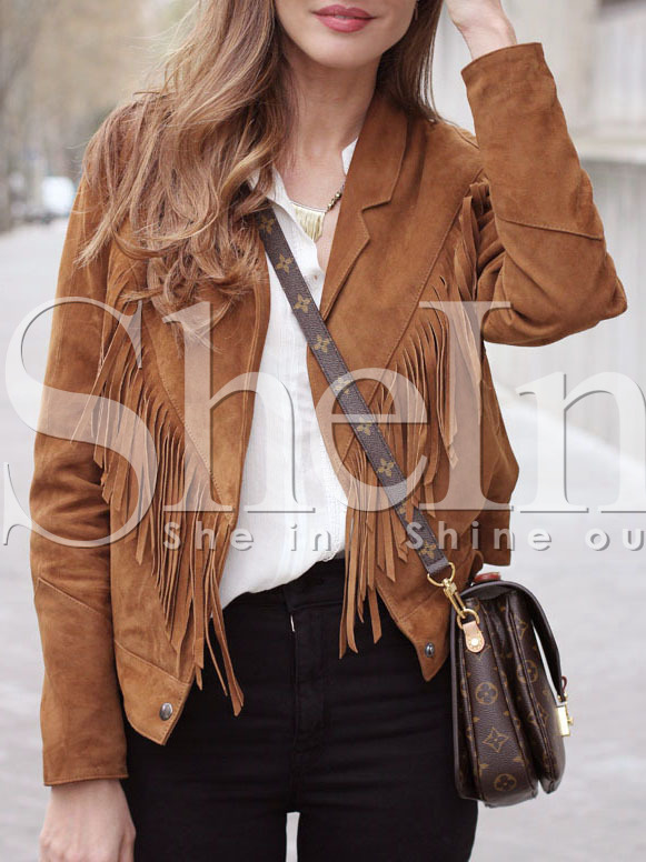Brown Long Sleeve Tassel Jacket -SheIn(Sheinside)