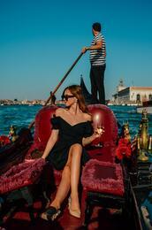 vogue haus,blogger,dress,bag,sunglasses,black dress,off the shoulder dress,little black dress