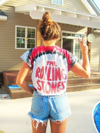 band t-shirt tie dye the rolling stones
