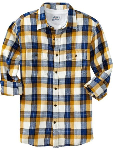 Navy Patterned Flannel Shirt in Yellow for Men (blue/yellow plaid ...