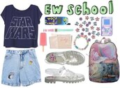 bag,backpack,ice cream,print,vintage,cute,women,collage,denim,jeans,star wars,back to school,hipster,pink,sandals,summer,high waisted,shorts,shoes,watch,shirt