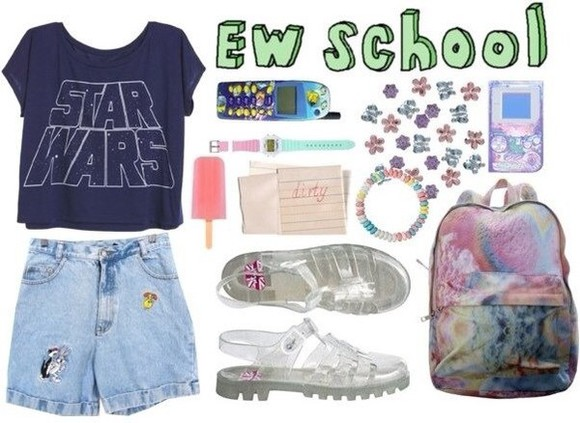 shorts jeans denim star wars cute bag pink backpack ice cream print vintage women collage school hipster sandals summer highwaisted shorts shoes Watches
