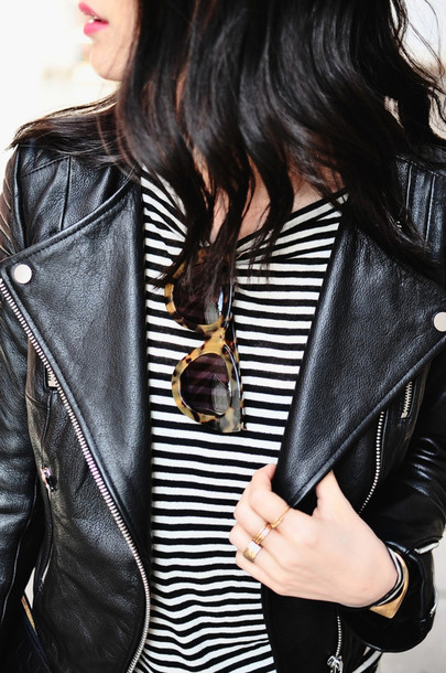 her imajination t-shirt jacket jeans jewels bag sunglasses shoes