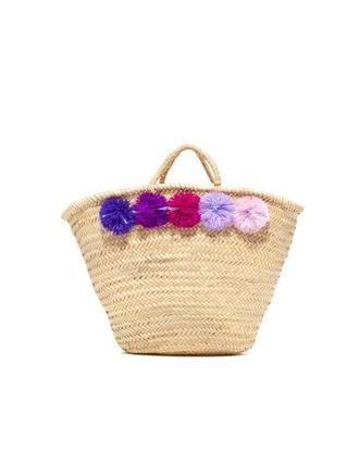 bag raffia bag beach bag pom poms