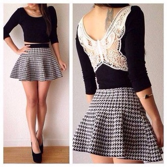 skirt top lace crop buttler fly short stripe stripes outfit cute crop tops striped skirt blouse