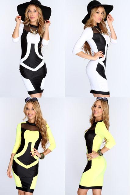 2014 new plus size women clothing OL peplum flower Bodycon dress slash o-neck sexy evening mini Bandage dress | Amazing Shoes UK
