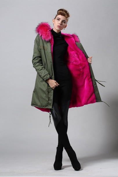 Jacket: parka, green coat, fur hood, pink fur - Wheretoget