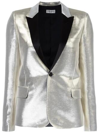 jacket women cotton silk grey metallic