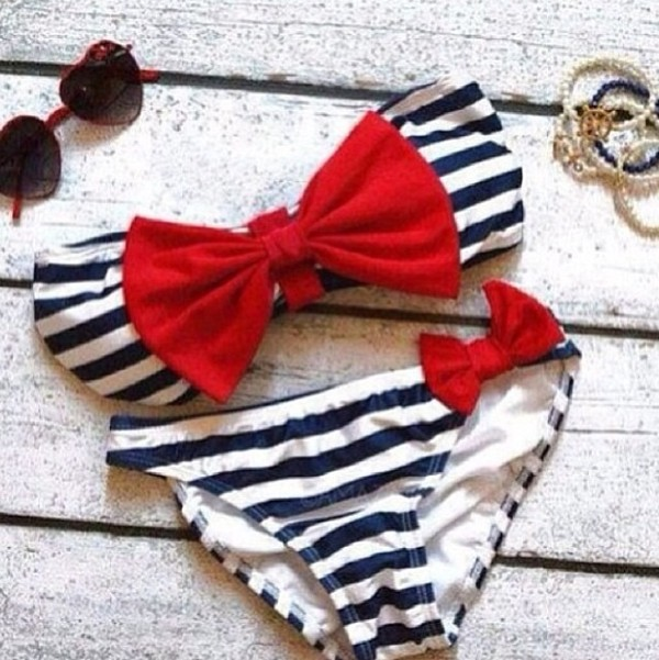 swimwear white blue stripes bikini marine nautical bows red navy