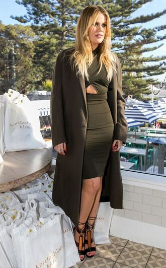 dress bodycon dress olive green coat khloe kardashian sandals