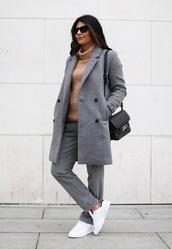 fashion landscape,blogger,sunglasses,pants,grey coat,turtleneck,stan smith,coat,shoes,sweater,bag