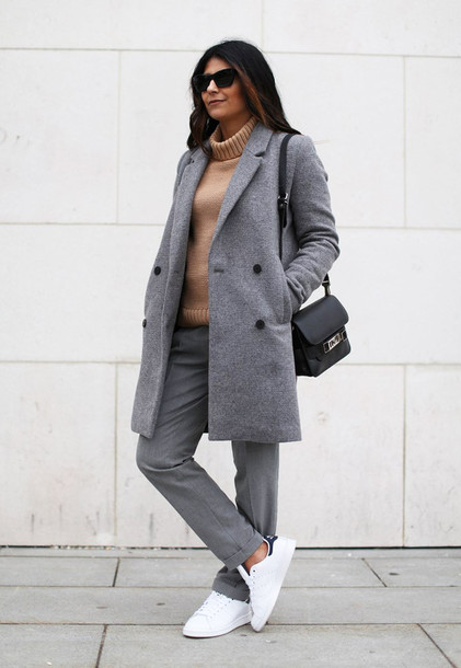 fashion landscape blogger sunglasses pants grey coat turtleneck stan smith coat shoes sweater bag