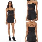 jumpsuit,black,black playsuit,mesh,crossed straps