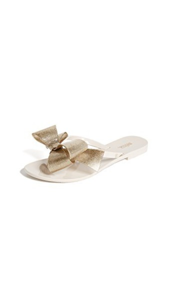 Melissa bow sandals glitter gold beige shoes