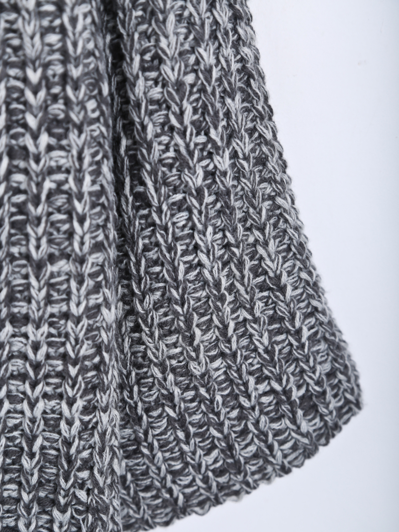 Grey Long Sleeve Pockets Knit Cardigan - Sheinside.com