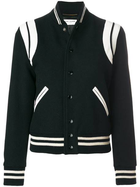 Saint Laurent jacket teddy jacket women leather cotton black wool