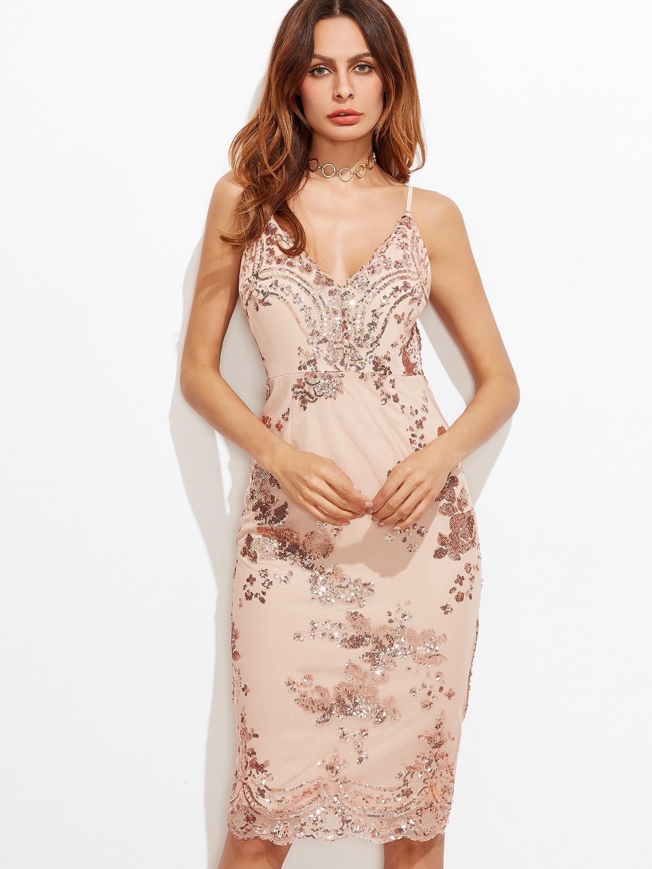 fb6ee7ed32 Pink Split Back Sequin Embroidered Cami Dress -SheIn(Sheinside)