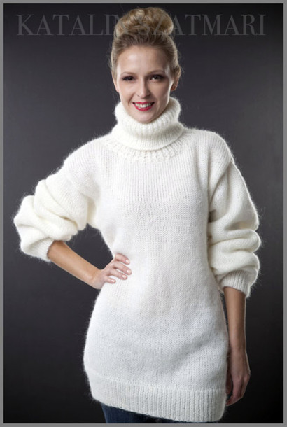 Sweater: white sweater, turtleneck sweater, fuzzy sweater, women's ...
