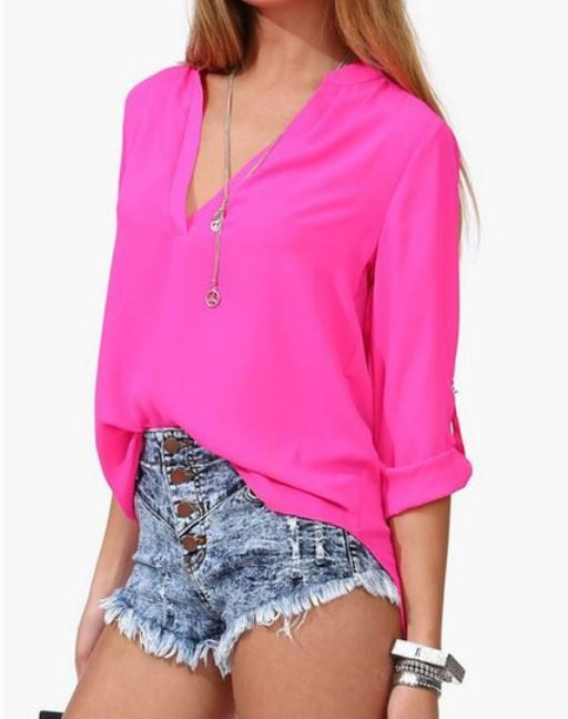 Pink Chiffon V Neck Blouse with Half Sleeves