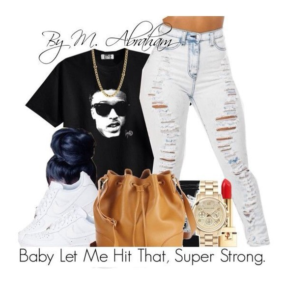gold jewels bag shirt watch black shoes jeans nike air nike sneakers t-shirt Jewlery singlet white