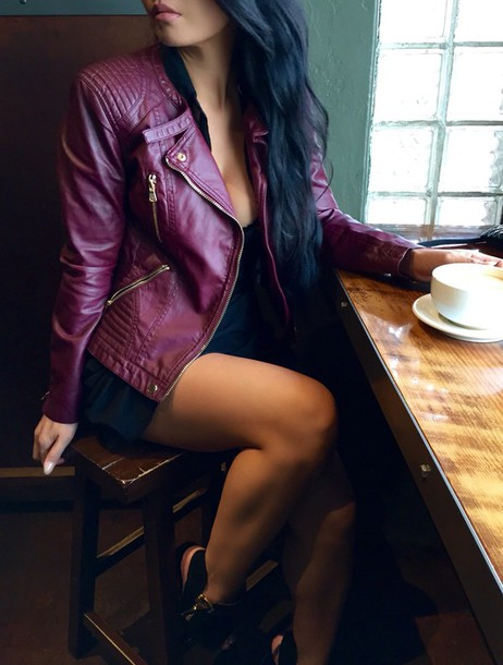 Jacket coat burgundy skirt burgundy clothes top style t-shirt sweater fall outfits ...