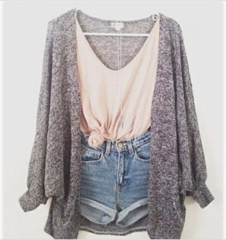 cardigan girly cute tumblr grey sweater