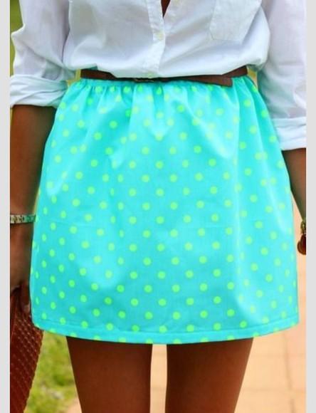 skirt polka dot lime green turquoiseblue