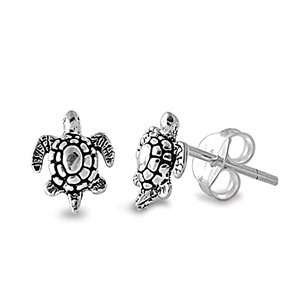 Sterling Silver Small Fancy Turtle Stud Post by ymcjewelry on Etsy