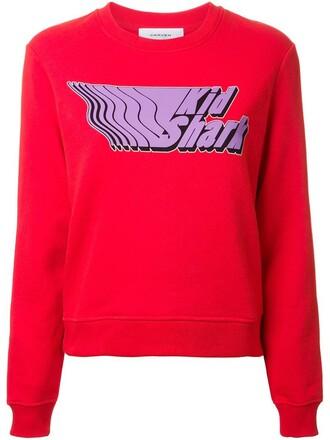 sweatshirt shark print red sweater