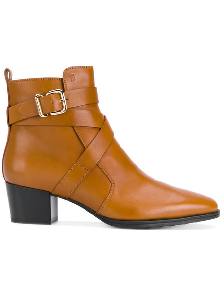 TOD'S women ankle boots leather brown shoes