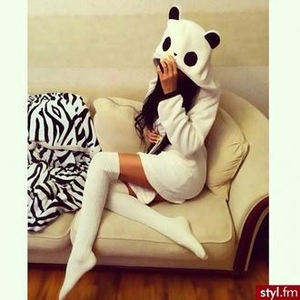 dress panda black white black and white socks white socks dope swag cool awsome sexy cute costume panda classy class costume costume party animal kstyle hoodie kigurumi pajamas
