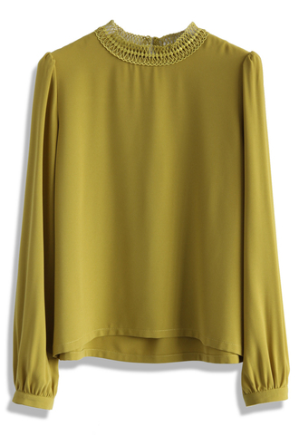 top refine crochet collar chiffon top in mustard chicwish chiffon top chic
