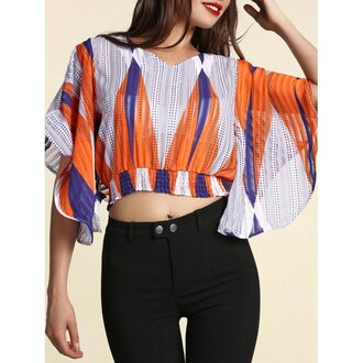 top rose wholesale crop tops boho style cropped casual summer blouse multicolor bohemian chic high waisted