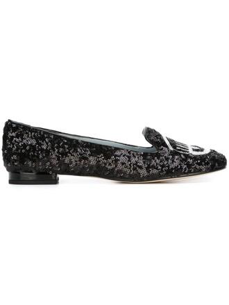 glitter slippers black shoes